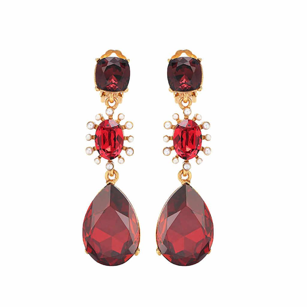 Moda mujer Vintage barroco cristal coloreado diamante pendientes con forma de gota de agua mujeres moda rojo pendiente colgante de joyería Brinco