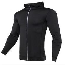 купить 2019 Mens Running Hoodies Fitness Sports Coat MMA Training&Exercise Hooded Jackets Men Breathable Quick-drying Running Jersey дешево