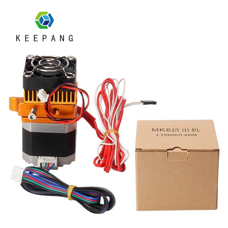 MK8 Cabeça J-cabeça Extrusora Hotend 0.4 milímetros Kit Bico 1.75 milímetros de Extrusão de Filamentos 3D Impressoras Peças com a Garganta Do Motor Caixa De Alumínio Parte
