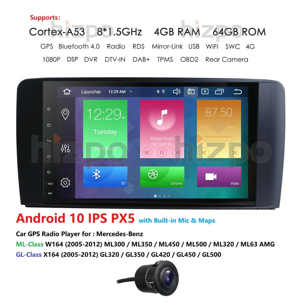 4G ram 9Android 10 Car GPS Navigation Radio For Mercedes Benz ML GL W164 ML350 ML500 ML300 X164 GL350,450,500 Languages,Map,CAM image