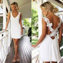 Women Embroidery Chiffon Lace Backless Dress V-neck Irregular Slip Dress Vintage Sleeveless Women's Beach Dresses(China)