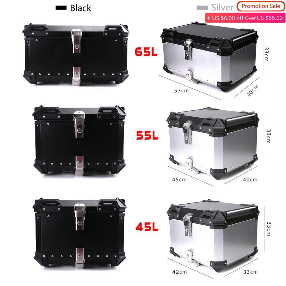 45L 55L 65L Motorcycle Rear Trunk Storage Top Tool Box Waterproof Luggage Helmet Lock Toolbox Case Alumium Accessories Universal