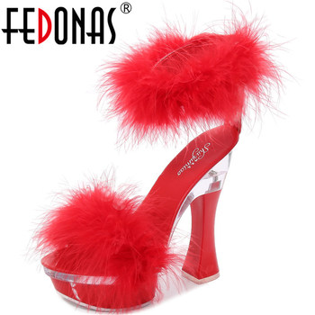 FEDONAS Sexy Platforms 2020 Summer Sandals For Women Fashion Open-Toed High Heels Pumps Quality Night Club Wedged Shoes Woman