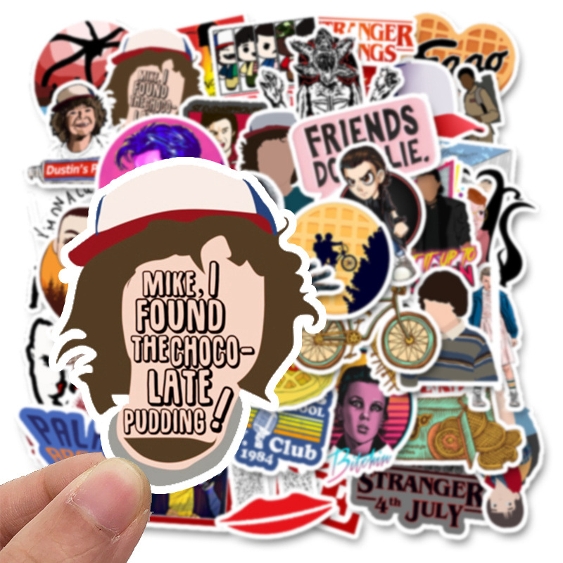 Image 4 - 50 Pcs Stranger Thing Figure Stickers Set refrigerator Sticker For Luggage Skateboard Motorcycle Laptop Waterproof Sticker-in Stickers from Toys & Hobbies