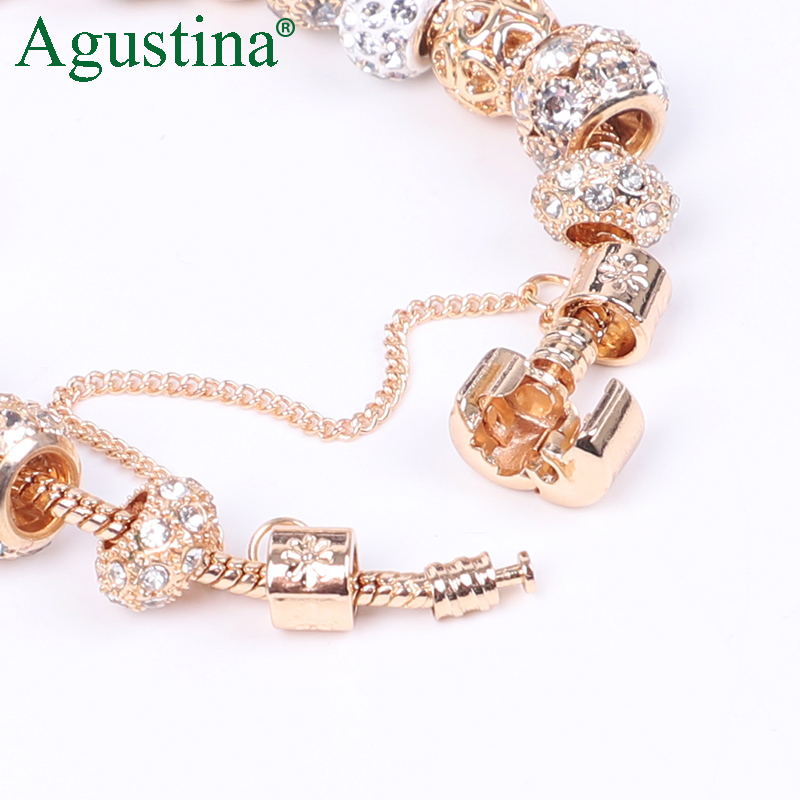 Top SaleAgustina Beads Bracelet Jewelry Charm Snap-Button Rhinestone Gold Women Fashion Luxury