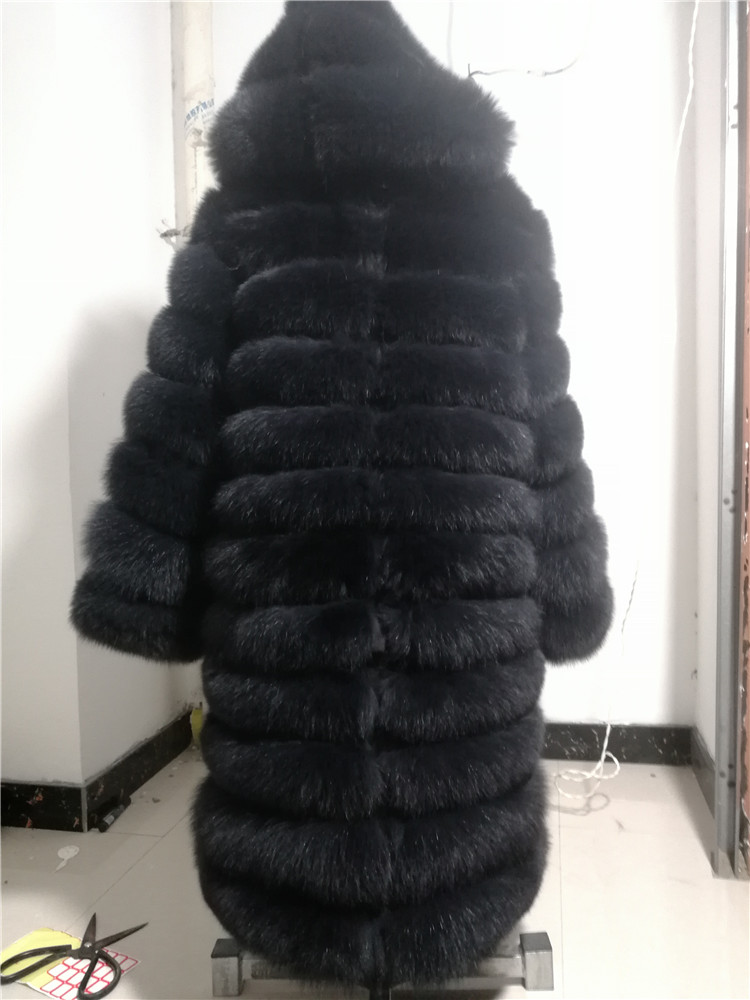 100% Natural Real Fox Fur Coat Women Winter Genuine Vest Waistcoat Thick Warm Long Jacket With Sleeve Outwear Overcoat plus size 123