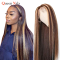 Парик из человеческих волос, бразильский прямой парик, цветные парики из человеческих волос, парик с T-образной частью на сетке, предварител...