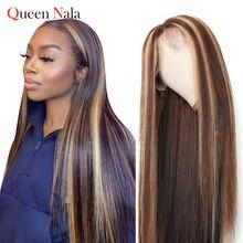 Evidenzia parrucca capelli umani parrucca diritta brasiliana parrucche colorate per capelli umani parrucca in pizzo parte T parrucche Pre pizzicate per donne nere