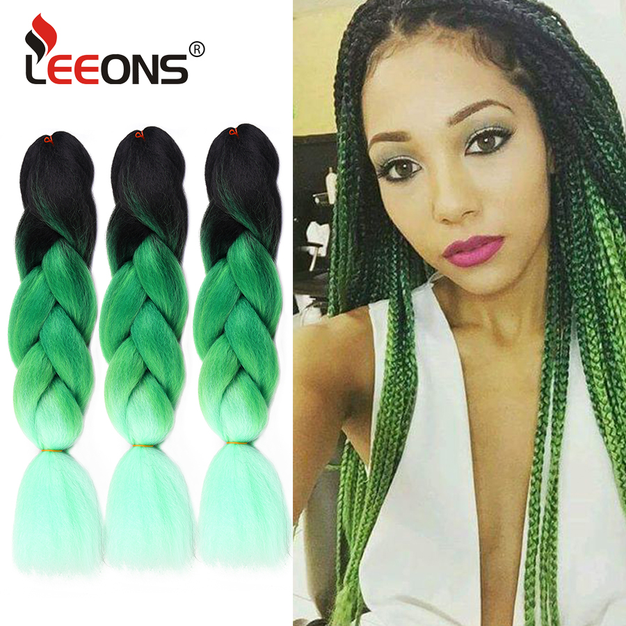 Leeons High Quality 24inches Jumbo Crochet Braiding Extension Hair Ombre Pink Green Grey Blonde Long Synthetic Fiber Jumbo Hair