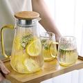 Стеклянный кувшин для холодной воды, чайник для чая, креативный стеклянный кувшин для воды с деревянной крышкой 1400 мл 1500 мл 1800 мл для домашне...
