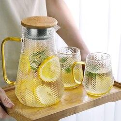 Jarro de água de vidro jarro de água água fria pote de chá criatividade jarro de água com cobertura de madeira 1400ml 1500ml 1800ml uso doméstico