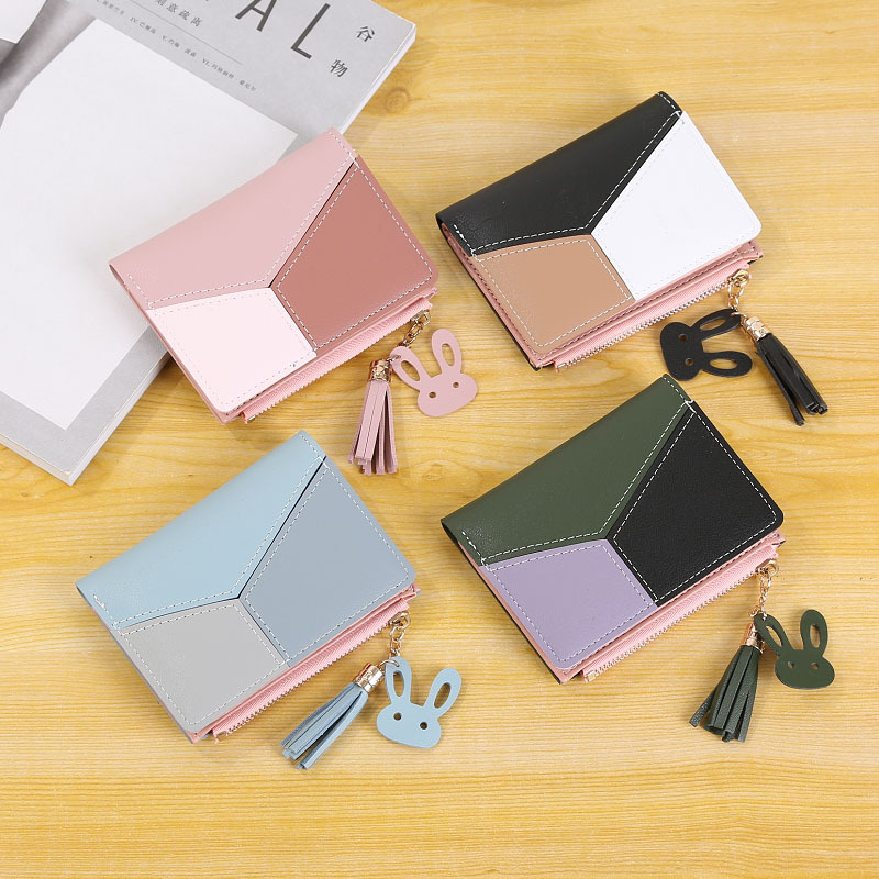 S.IKRR Luxury Women Wallets Geometric Short Small Wallet Purse Fashion Zipper Card Holder Coin Pocket Leather Money Bag Purses