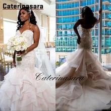цена на Gorgeous Plus Size Mermaid Wedding Dresses Sweetheart Lace Applique Cascading Ruffles Sweep Train Bridal Gowns vestido de novia