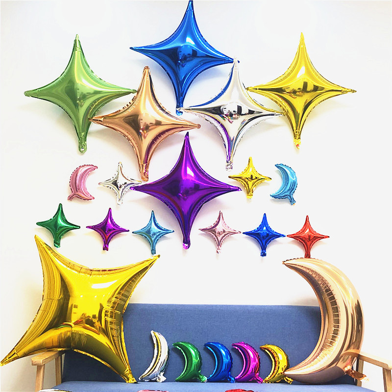 Small Size 10 Inch Four Point Star Aluminum Film Balloon Multi Color Wedding Birthday Graduation Party Decoration
