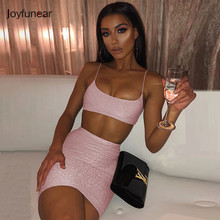 Joyfunear Roze Bodycon Crop Top En Jurk Set Vrouwen Glitter Backless Spaghetti Party Sexy Jurken Mini Club Jurk Vestidos(China)