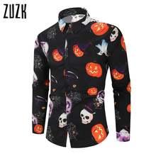 Zuzk рубашка Для мужчин Хэллоуин с принтом в виде тыквы оверсайз