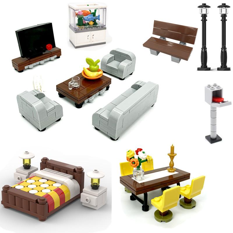 Moc Accessories Locking Creator City Room Sofa Bed Desk Bed Table Furniture Bricks DIY Toys For Kids Compatible Building Blocks
