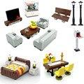 Moc Zubehör Locking Creator Stadt Zimmer Sofa Bett Schreibtisch Bett Tisch Möbel Bricks DIY Spielzeug Für Kinder Kompatibel Bausteine