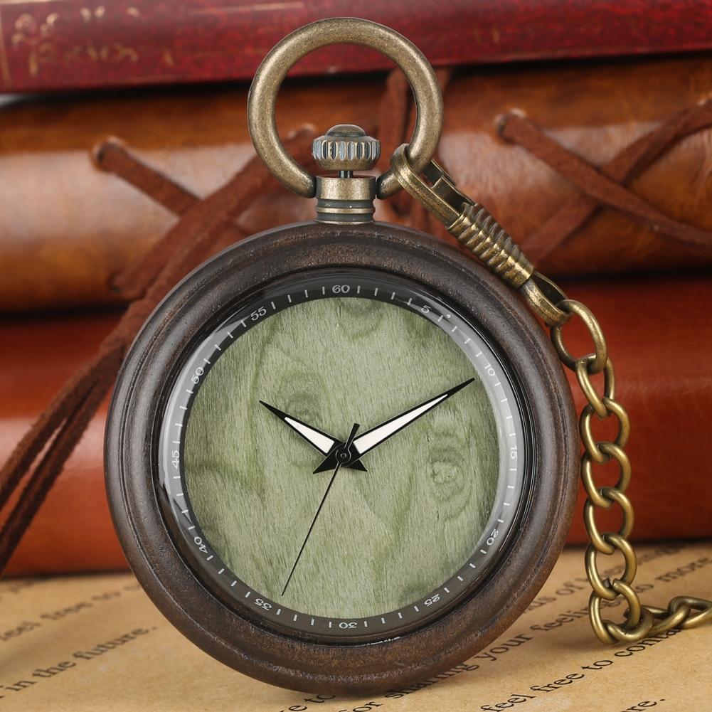 Special Wooden Quartz Pocket Watch Men Women Large Round Dial Pendant Chain Watches