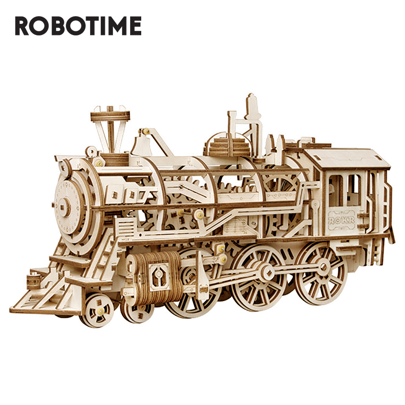 Robotime 3D Wooden Puzzle Train Model Clockwork Gear Drive Locomotive Assembly Model Building Kit Toys For Children Adult LK701
