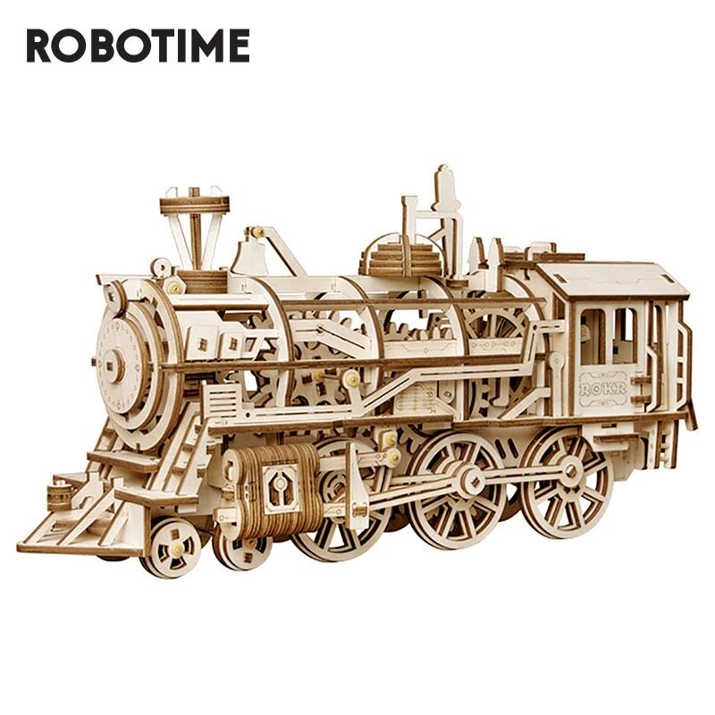 Robotime 3D Wooden Puzzle Train Model Clockwork Gear Drive Locomotive Assembly Model Building Kit Toys For Children Adult LK701