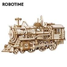 Robotime ROKR rompecabezas de madera en 3D para niños, modelo de tren de relojería, engranaje de tracción, conjunto de modelo de construcción de juguetes LK701