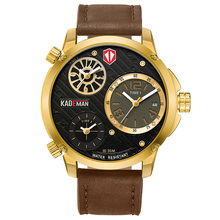 KADEMAN Large Dial Relogio Masculino TOP Brand Luxury Watch Men Double Time Zone Quartz Watch Leather Strap Mens Watch Reloj Hom все цены