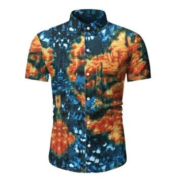 Allthemen Men's Fashion Short Sleeve Shirt Summer Hawaiian Print Turn Down Collar  Shirt Men Casual Button Up Shirt Masculine girls button up banana print collar dress