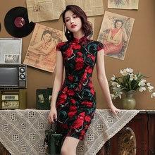 Черно красное платье в китайском стиле Ципао стрейчевое из хлопка