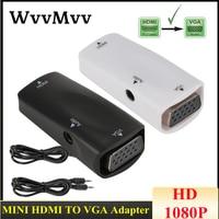 Mini adaptador HDMI hembra a VGA hembra 1080P FHD, convertidor de Audio y vídeo HD2VGA para PC, portátil, HDTV, proyector de ordenador