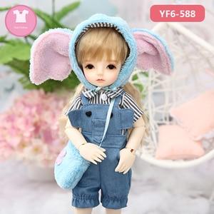 Image 5 - 1/6 BJD SD Одежда для куклы, розовая или белая Фотосессия и черные джинсы, милые аксессуары для кукол Yosd Body