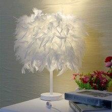 Feather Table Lamp LED Bedside For Bedroom Living Room Home Deco Maison E27 Tafellamp Lampe De Chevet Chambre