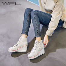 WFL Women Sneakers Zapatos De Mujer Canvas Shoes Wedge Platf