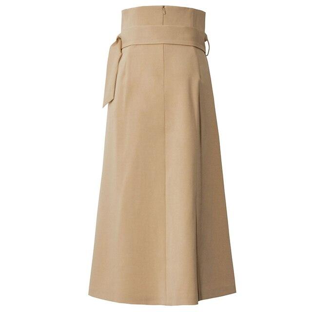 [EAM] High Waist Brown Bandage Asymmetrical Pleated Temperament Half-body Skirt Women Fashion Tide New Spring Autumn 2021 1S464 2