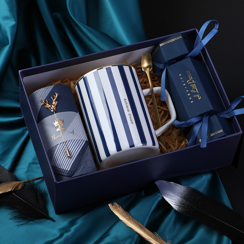 Birthday Gift For Girlfriend Boyfriend Pink Blue Ceramic Cup Handkerchief Brooch Thanksgiving Christmas Return Gifts For Wedding