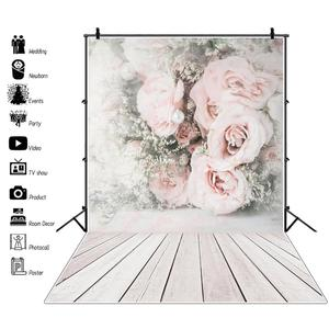 Image 1 - Laeacco Faded Flowers Wall Wooden Floor Vintage Portrait Photography Backdrops Vinyl Photo Backgrounds Baby Birthday Photocall