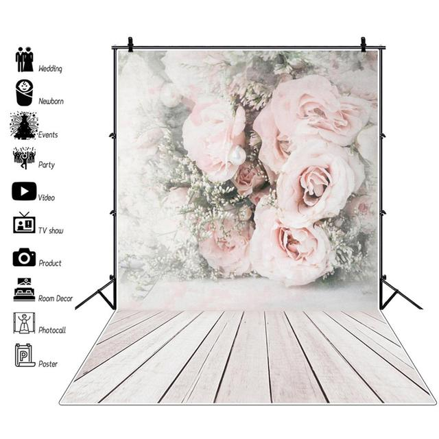 Laeacco Faded Flowers Wall Wooden Floor Vintage Portrait Photography Backdrops Vinyl Photo Backgrounds Baby Birthday Photocall