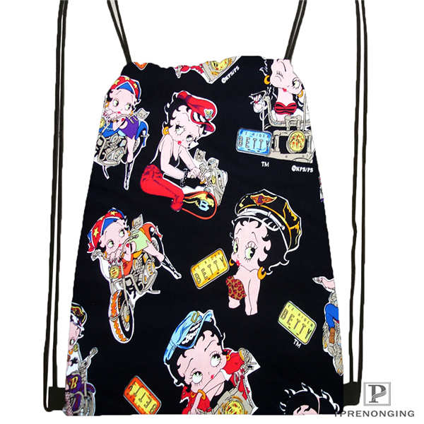 Custom BETTY-BOOP-STANDARD  Drawstring Backpack Bag Cute Daypack Kids Satchel (Black Back) 31x40cm#2018612-01-24