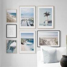 Wand Kunst Leinwand Malerei Blau Tropischen Strand Ananas Van Coconut Baum Nordic Poster Und Drucke Wand Bilder Für Wohnzimmer