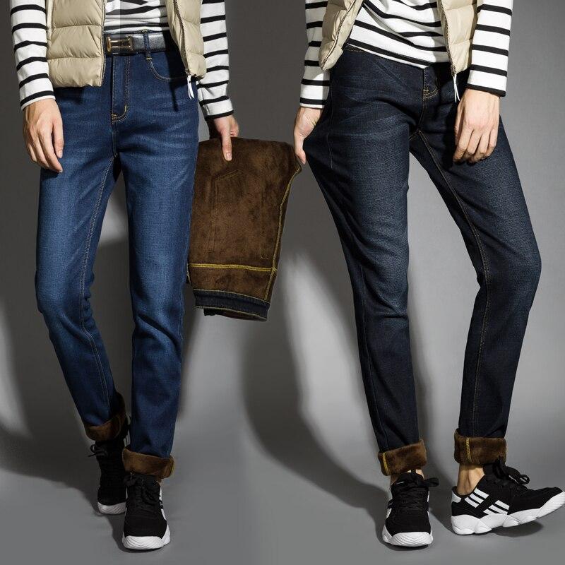 2020  Winter Jeans Men Black Color Slim Fit Stretch Thick Velvet Pants Warm Jeans For Men Fashion Casual Fleece Trousers Male