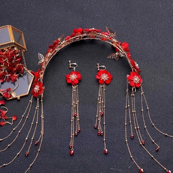 Chińskie tradycyjne kolor czerwony stroik kwiatowy akcesoria do włosów ręcznie długi Tassel pałąk kolczyki komplety biżuterii tanie i dobre opinie Ze stopu cynku CN (pochodzenie) Kobiety Metal TRENDY Zestawy biżuterii dla nowożeńców THY2482 Ślub