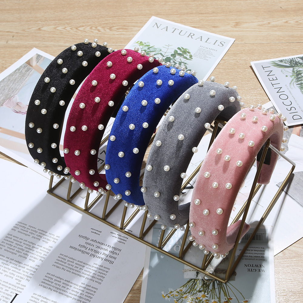 New Fashion Winter Thick Sponge Hairbands Padded Pearl Hair Hoop Headbands For Women  Hair Jewelry