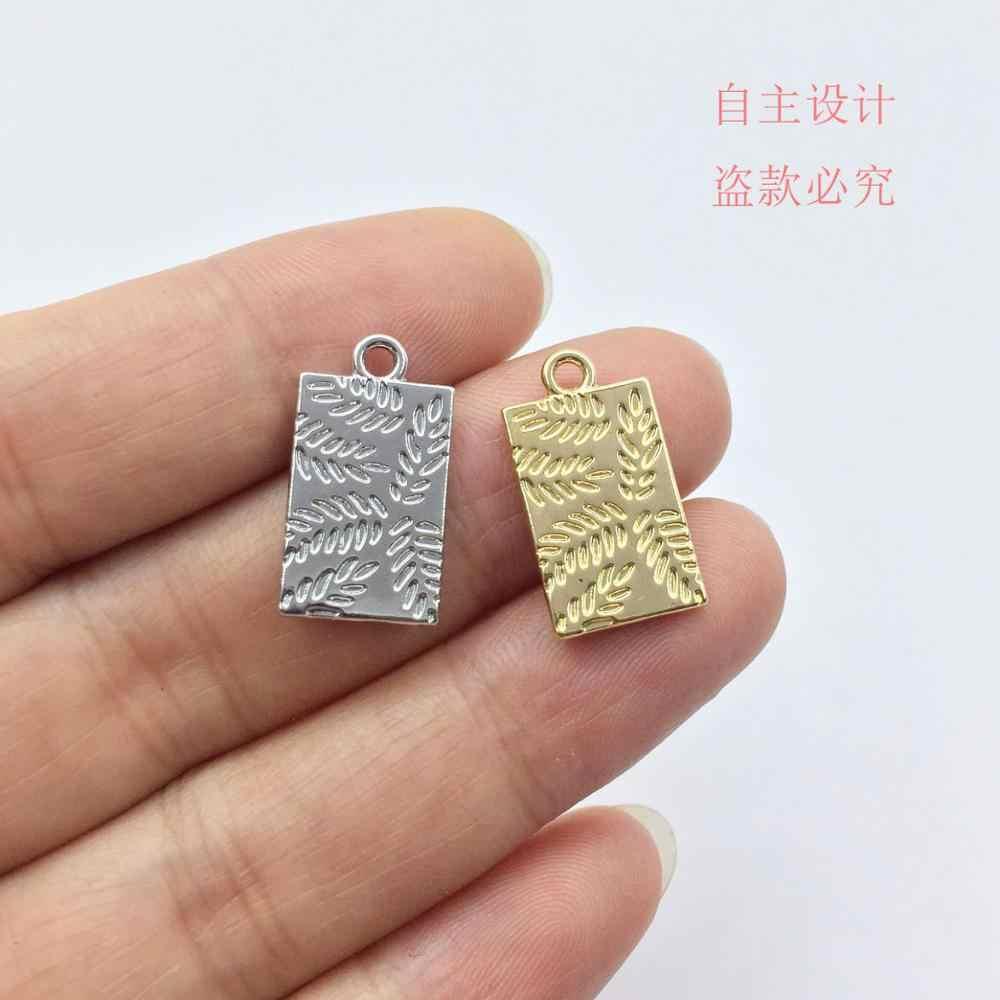 Eruifa 20pcs 10*18 มม.พิมพ์ทอง/Silver Plated สังกะสี Charms จี้เครื่องประดับสร้อยคอ DIY 2 สี