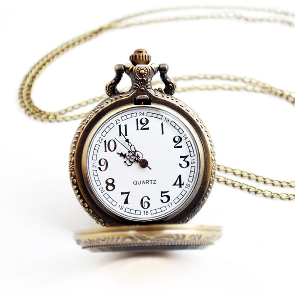 Vintage Flower Pocket Watch Quartz Necklace Chain Men Women For Girls Gifts Watch Clock Wholesale Relogio De Bolso #4N19