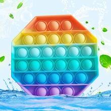 Push it pop fidget reliver estresse arco-íris brinquedos aliviar autismo brinquedo brinquedo pop bolha antiestresse brinquedos adultos crianças sensoriais