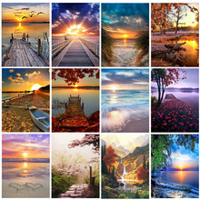 DIY 5D Diamond Painting Kits Landscape Sunset Cross Stitch Kits Full Drill Embroidery Mosaic Art Picture Wall Decoration