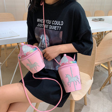 Pink Carousel Bucket Design Pu Leather Young Girl's Casual Daily Purse Shoulder Crossbody Bag