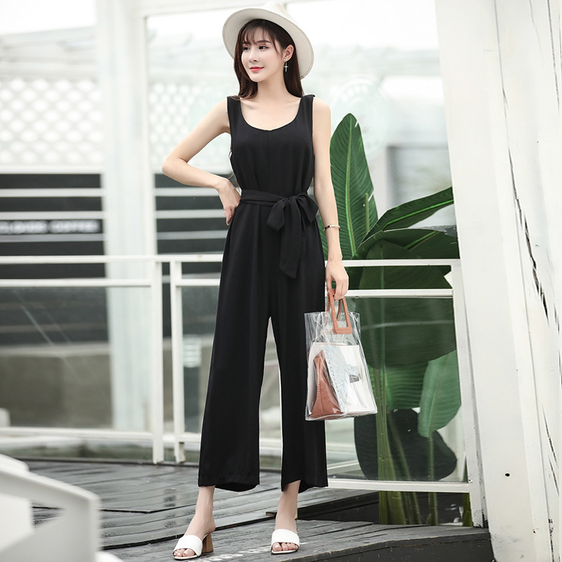 2019 New Style WOMEN'S Dress Summer Suspender Strap Loose Pants Women's Solid Color Capri High-waisted Camisole Onesie Set Onesi