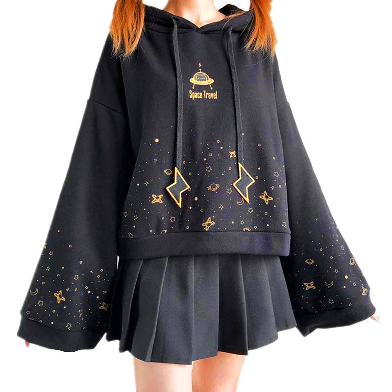 Autumn Women Kawaii Short Hoodie Harajuku Flare Long Sleeve Starry Sky Print Lightning Embroidery Drawstring Hooded Sweatshirt