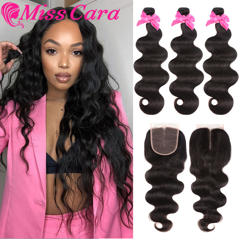 Transparent Lace Frontal With Bundles Malaysian Body Wave Bundles With Frontal 100% Miss Cara Remy Human Hair With Closure